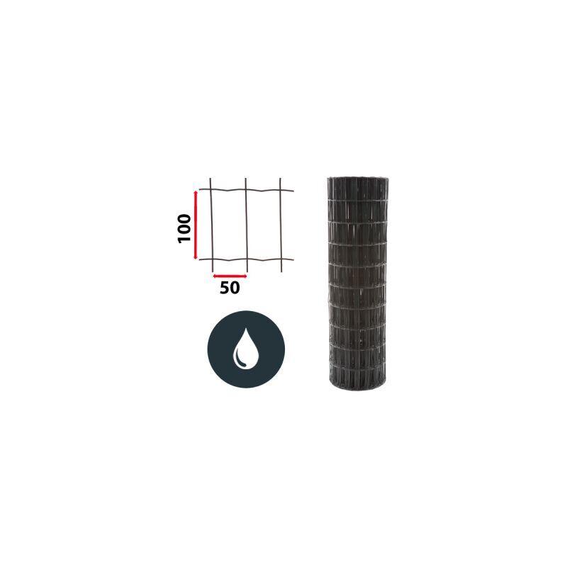 CLOTURE & JARDIN Kit Grillage Soudé Gris 100M - JARDIPREMIUM - Maille 100x50mm - 2 mètres