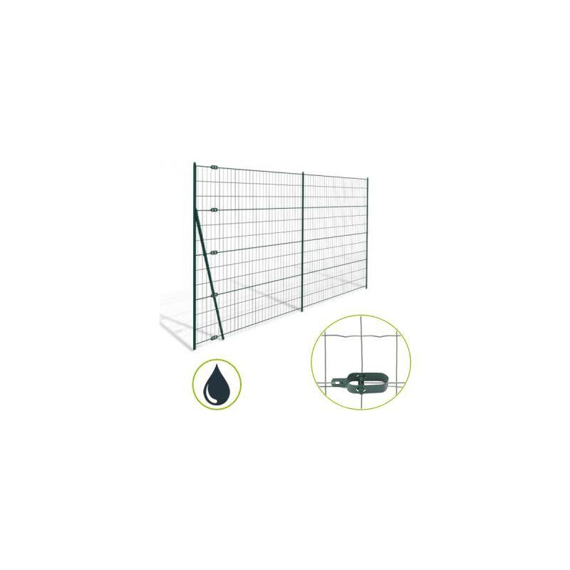 CLOTURE & JARDIN Kit Grillage Soudé Gris 100M - JARDIMALIN - Maille 100x75mm - 1 mètre