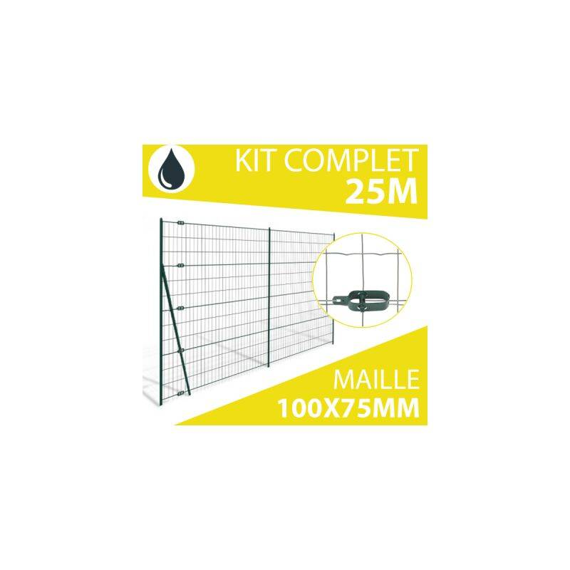CLOTURE & JARDIN Kit Grillage Soudé Gris 25M - JARDIMALIN - Maille 100x75mm - 1,20 mètre