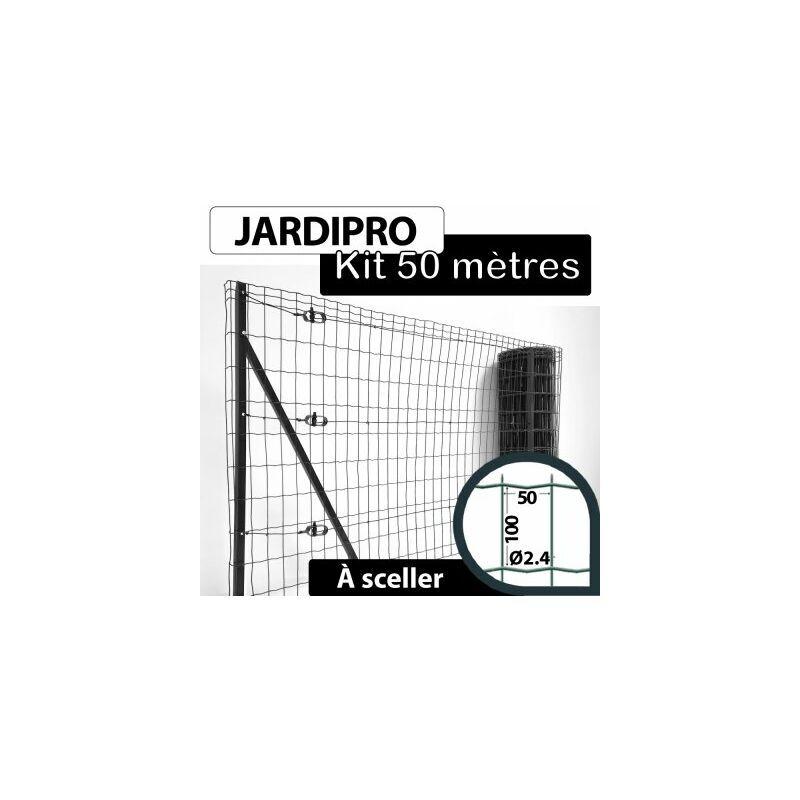 CLOTURE & JARDIN Kit Grillage Soudé Gris 50M - JARDIPRO - Maille 100x50mm - Triple lisière - 2 mètres
