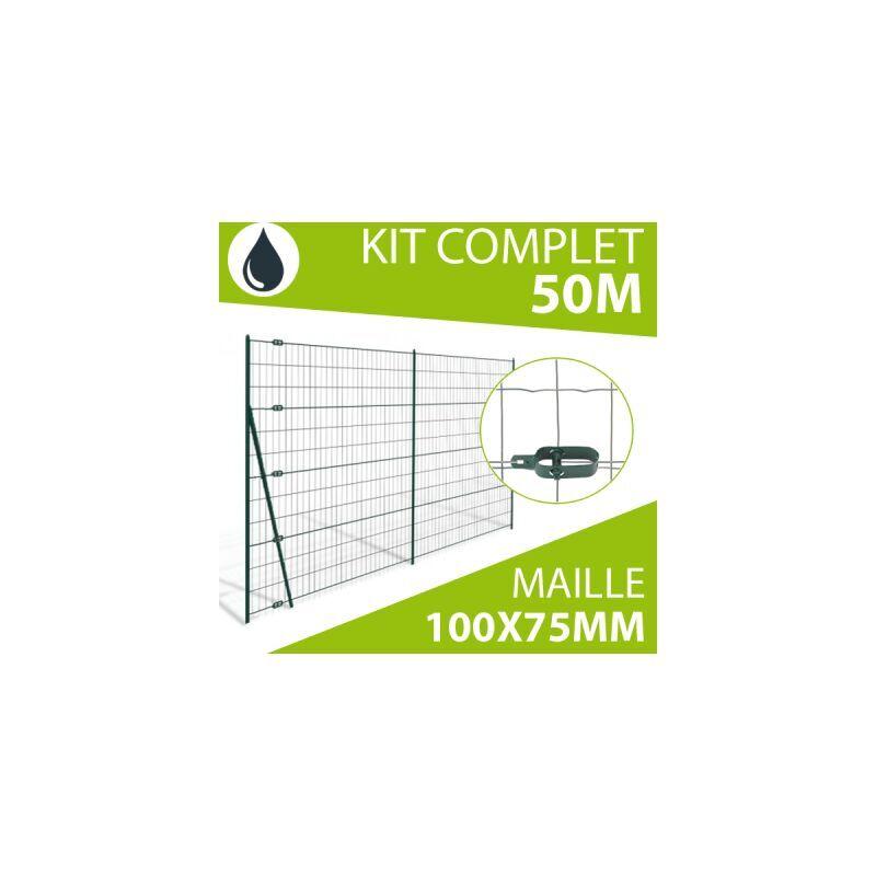 CLOTURE & JARDIN Kit Grillage Soudé Gris 50M - JARDIMALIN - Maille 100x75mm - 1,20 mètre