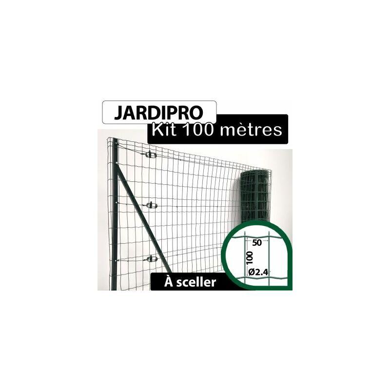 CLOTURE & JARDIN Kit Grillage Soudé Vert 100M - JARDIPRO - Maille 100x50mm - Triple lisière - 1,50 mètre