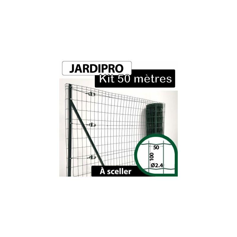 CLOTURE & JARDIN Kit Grillage Soudé Vert 50M - JARDIPRO - Maille 100x50mm - Triple lisière - 1 mètre