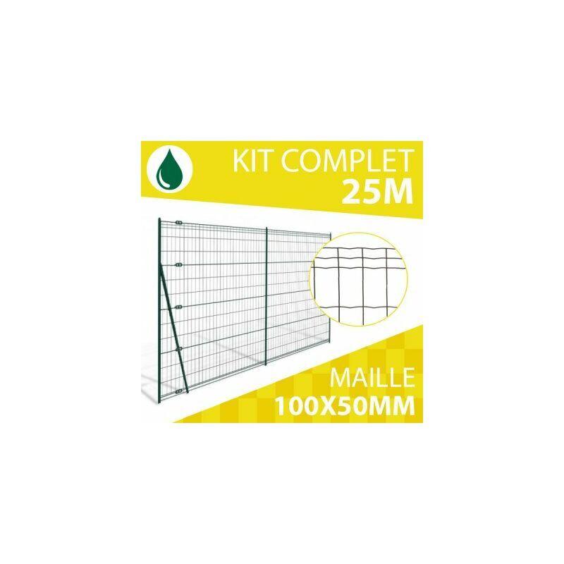 CLOTURE & JARDIN Kit Grillage Soudé Vert 50M - JARDIPRO - Maille 100x50mm - Triple lisière - 2 mètres