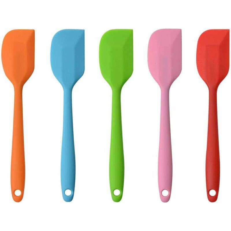 LITZEE Spatules en Silicone, Ustensiles en Silicone, Résistant à la Chaleur de Anti-adhé Non Toxiques sans BPA, Outil de Cuisson Patisserie, Set de 5