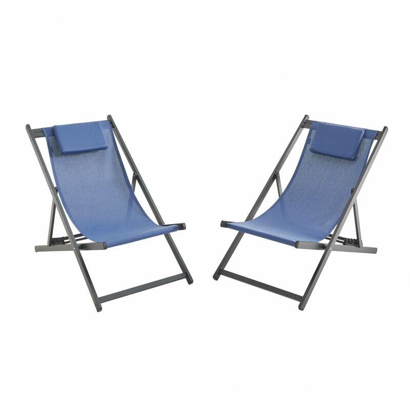 ALICE'S GARDEN Lot de 2 bains de soleil - Gaia Bleu nuit - Transat en aluminium gris anthracite et textilene avec coussin repose tête. chilienne