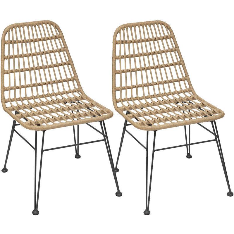 HESPERIDE Lot de 2 chaises de jardin en résine tressée Lambada Sesame - Hespéride