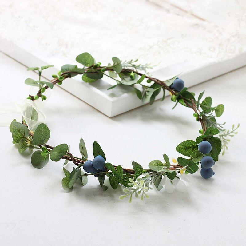 ECHOO Lot de 2 couronnes de fleurs en soie pour cheveux - Printemps d'été - Pour femme - Pour mariage, festival, fête, photo - Vert - 18 cm