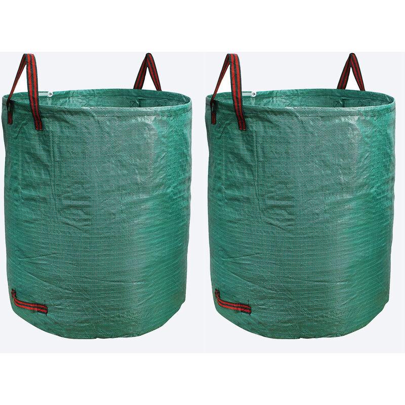 YONGQING Lot de 2 Sac de jardin réutilisable en Tissu tissé enduit de polypropylène - 500l - Vert - Vert