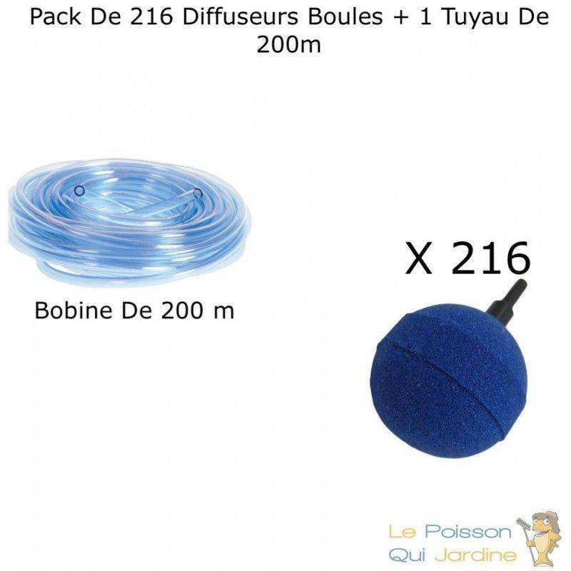 LEPOISSONQUIJARDINEFR Lot De 216 Diffuseurs D'Air, Boules, 5 cm + 1 Tuyau De 200 m, Pour Bassins