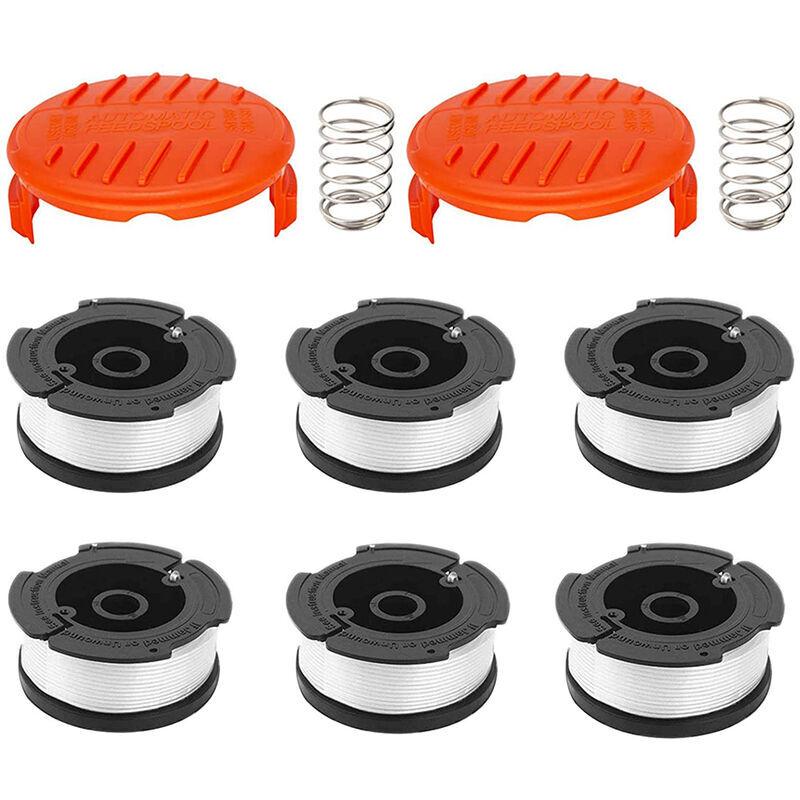 Abcrital - Lot de 6 bobines de ligne Avec 2 couvercles pour remplacer les coupe-bordures Black Decker Bobine de rechange Capuchon de coupe-herbe à