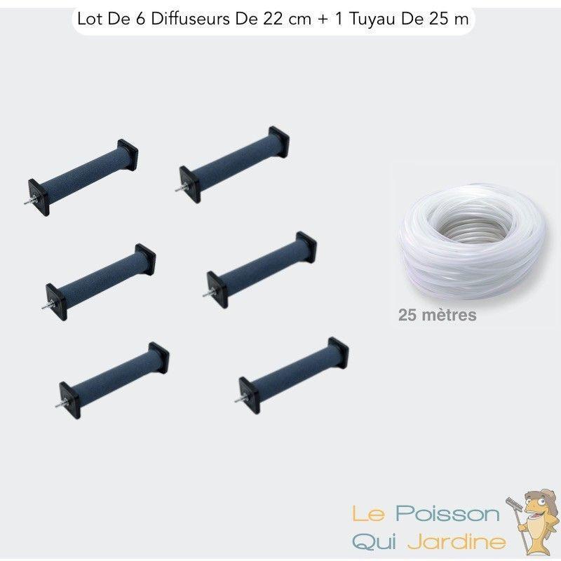 LEPOISSONQUIJARDINEFR Lot de 6 Grands Diffuseurs D'Air, 22 cm De Long + 1 Tuyau De 25m