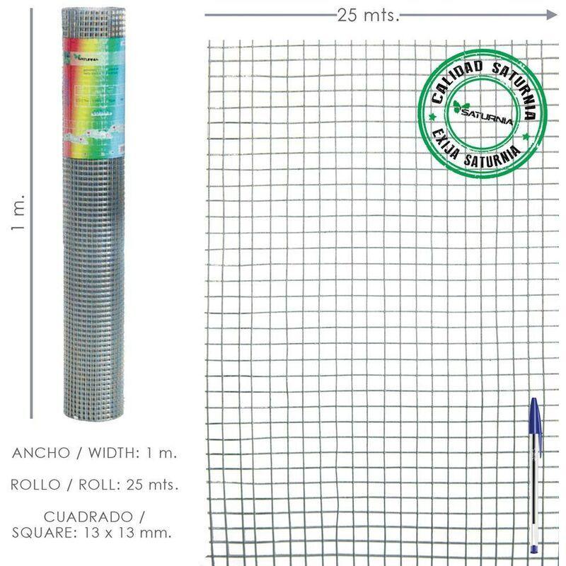 SATURNIA Maille Galvanisée Electro-soudée 13x13 / Hauteur 100 cm. Rouleau de 25 mètres à usage domestique