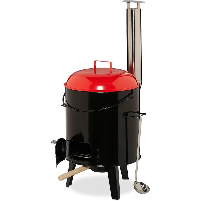 RELAXDAYS Marmite pour soupe, émaillée, chaudière ,couvercle, 14 l, grille,extérieur, cuisine de campagne, noir/rouge