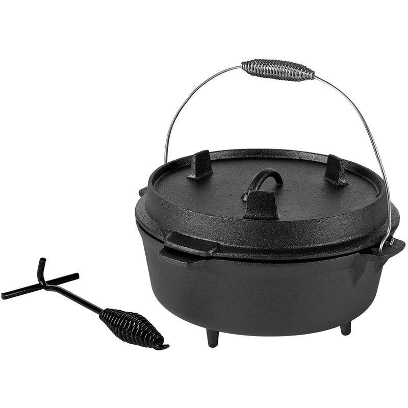 MELKO Four hollandais BBQ avec couvercle et lève-couvercle en fonte, marmite pour griller, rôtir, cuire, cuisiner ou pour ragoûts, 9 litres - Melko