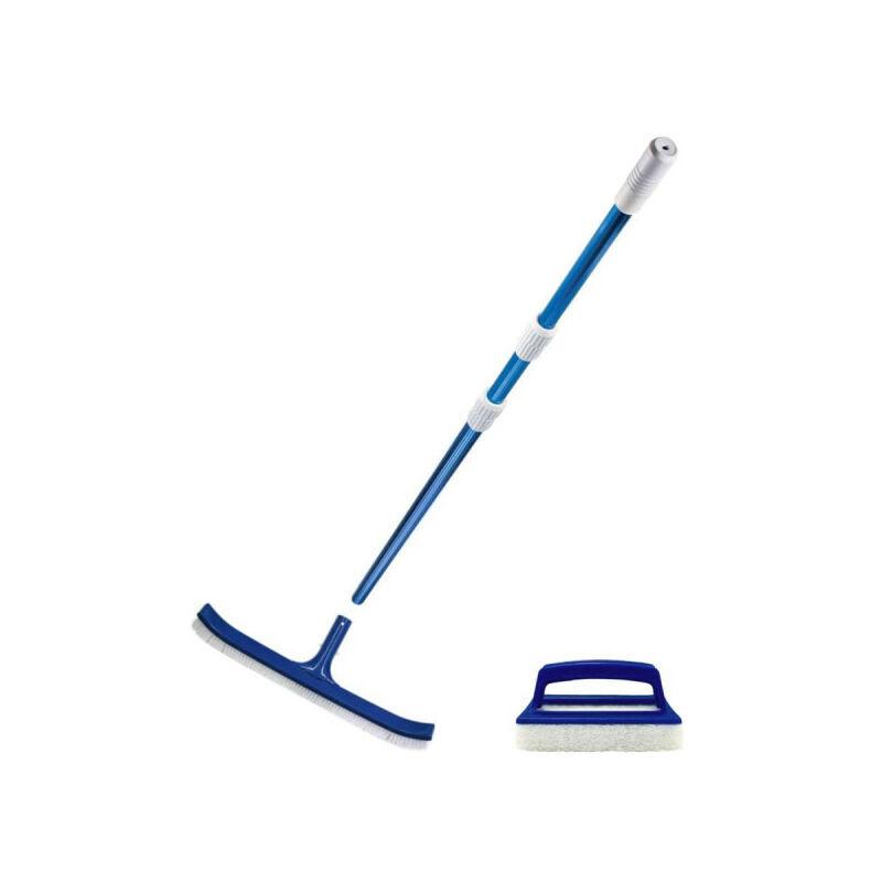 MAREVA Pack nettoyage MAREVA pour piscine - Manche telescopique - Brosse - Brosse de ligne d'eau - Bleu