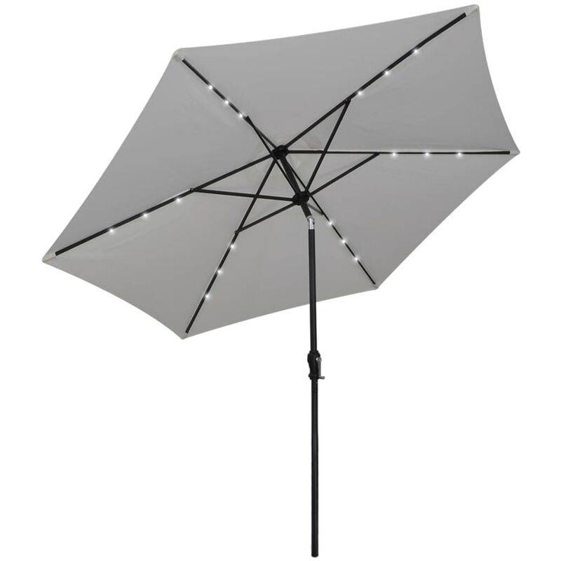 TRUE DEAL Parasol en porte-à-faux avec LED 3 m Blanc sable