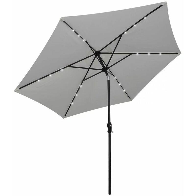 Betterlife - Parasol en porte-à-faux avec LED 3 m Blanc sable8562-A