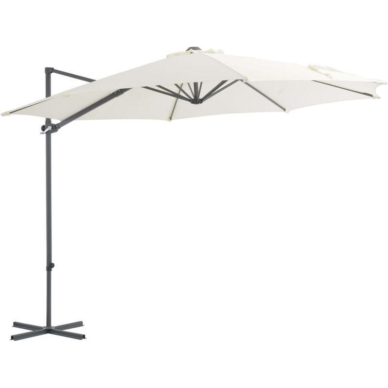 Youthup - Parasol en porte-à-faux avec mat en acier Sable 300 cm