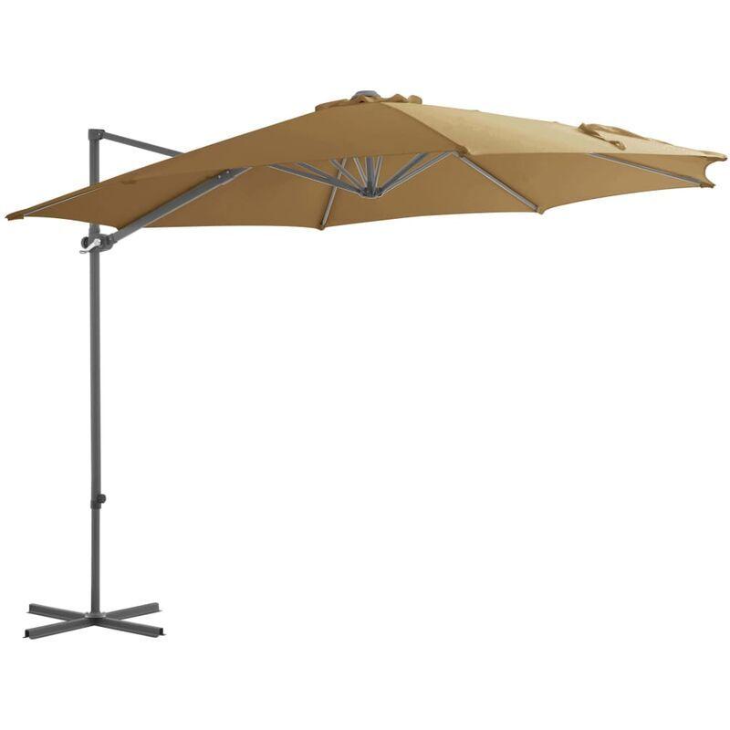 Asupermall - Parasol en porte-a-faux avec mat en acier Taupe 300 cm