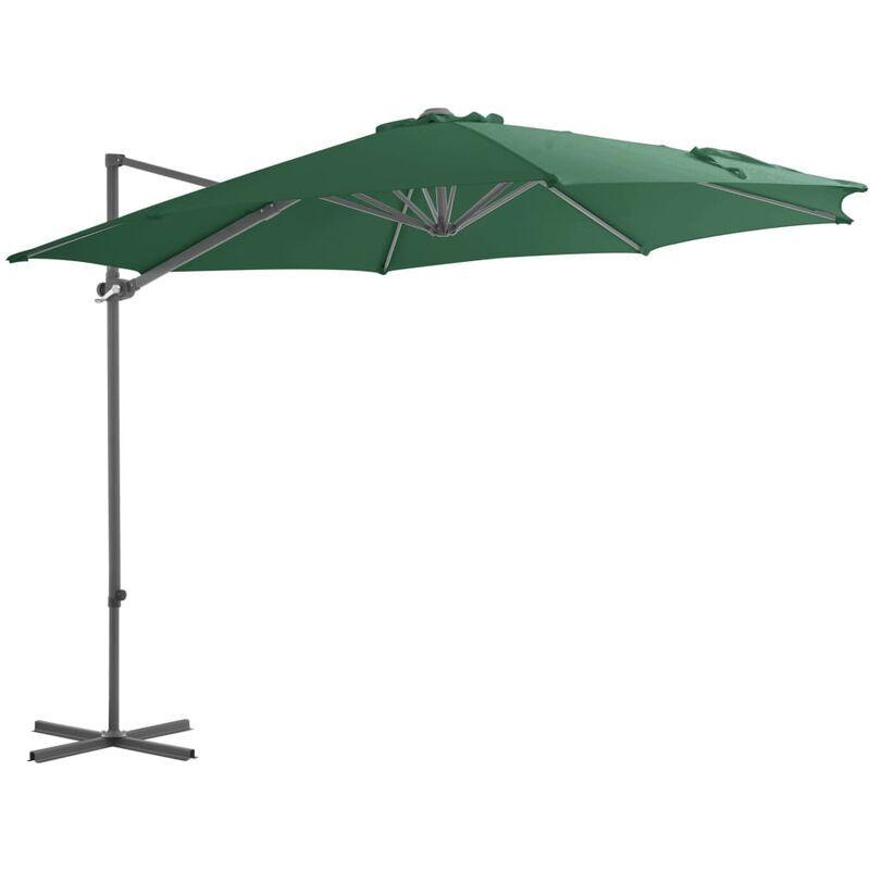 Youthup - Parasol en porte-à-faux avec mat en acier Vert 300 cm