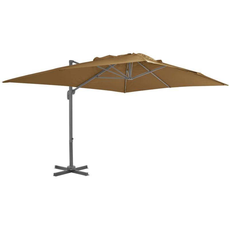 ASUPERMALL Parasol en porte-a-faux avec mat en aluminium 400x300 cm Taupe
