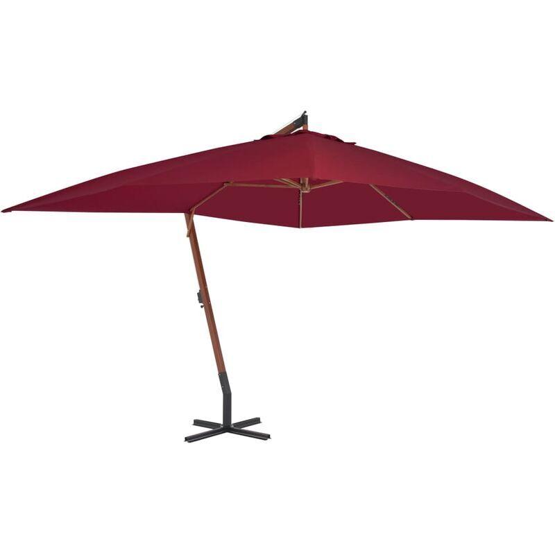 TRUE DEAL Parasol en porte-à-faux avec mât en bois 400 x 300 cm Bordeaux