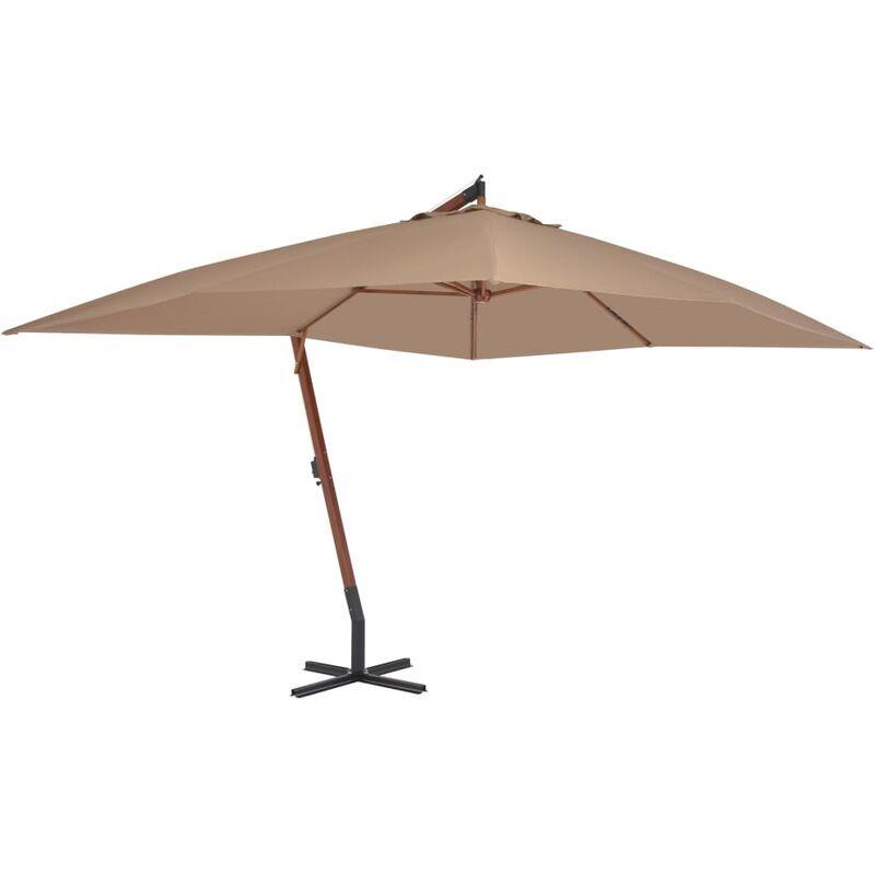 Betterlife - Parasol en porte-à-faux avec mât en bois 400 x 300 cm Taupe8881-A
