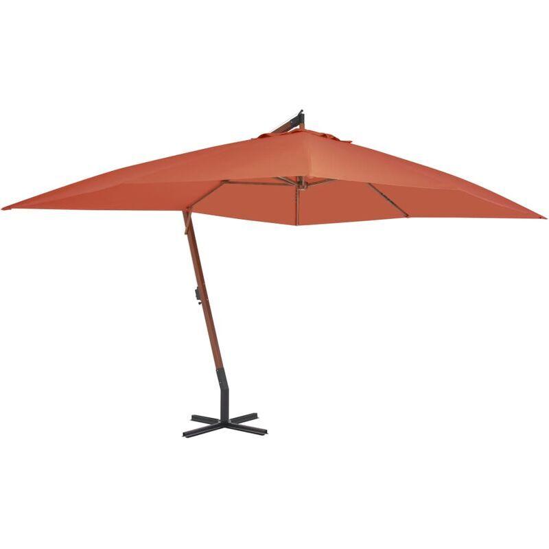 TRUE DEAL Parasol en porte-à-faux avec mât en bois 400x300 cm Terre cuite