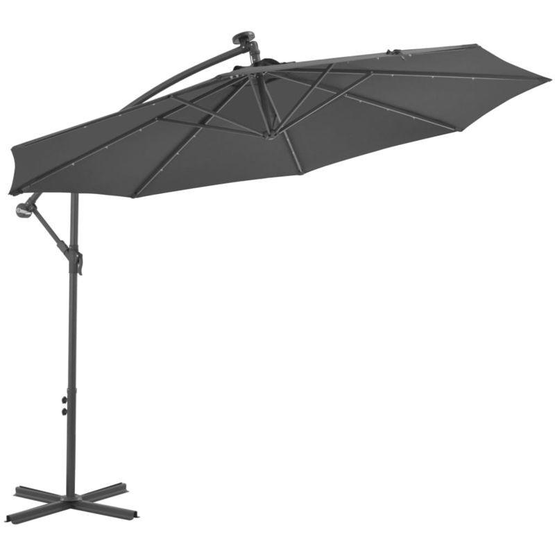 Asupermall - Parasol en porte-a-faux LED et mat en acier 300cm Anthracite