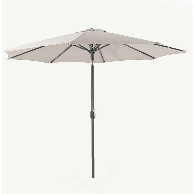 EDENJARDIN Pare-soleil d'extérieur en aluminium, mât central, rond 300 cm, sortie de vent, tissu grain 200 g, avec housse de protection de couleur grise clair