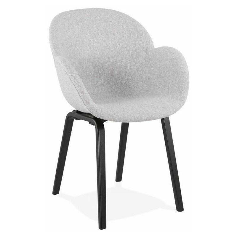 Paris Prix - Chaise Design En Tissu fiano 88cm Gris & Noir