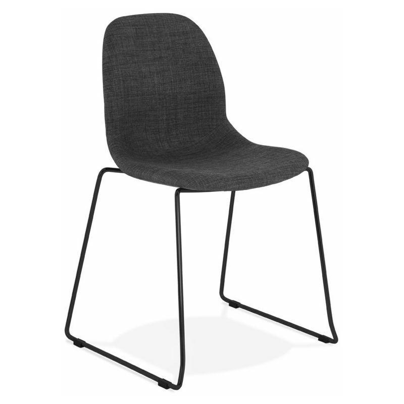 PARIS PRIX Chaise Design En Tissu sluna 85cm Gris & Noir - Paris Prix