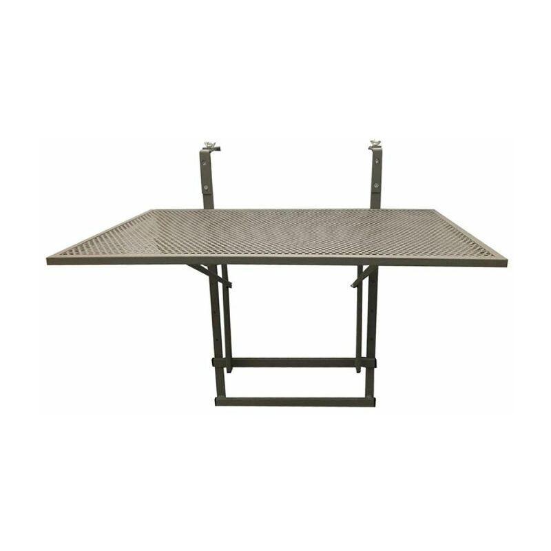 PARIS PRIX Table De Balcon Design pliable 60cm Taupe - Paris Prix