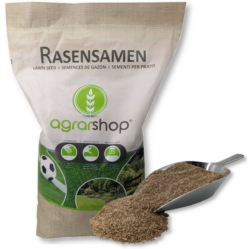 AGRARSHOP Pelouse ombragée 10 kg Graines de gazon Graines d'herbe Ombre Pelouse Graines de pelouse Graines Herbe