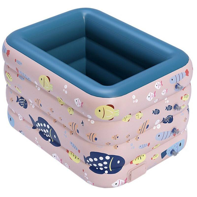 Yongqing - Piscine gonflable d'été à 4 couches ou piscine pliable pour enfants, baignoire extérieure intérieure (1.2m) - Rose lotus - Rose lotus