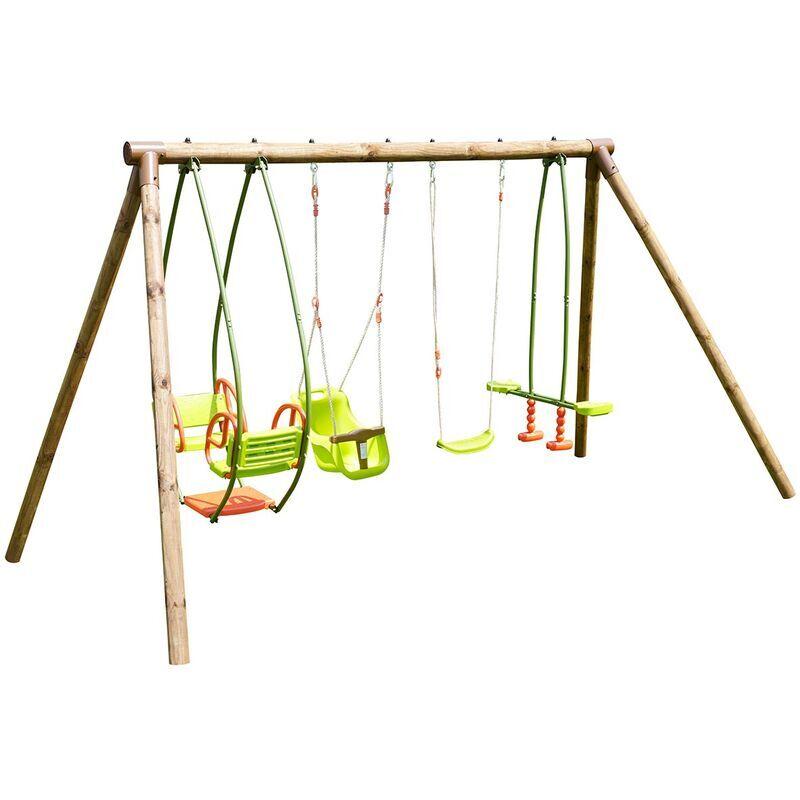 soulet Portique en bois 4 agrès - de 6 mois à 12 ans-6 enfants-Suzanne