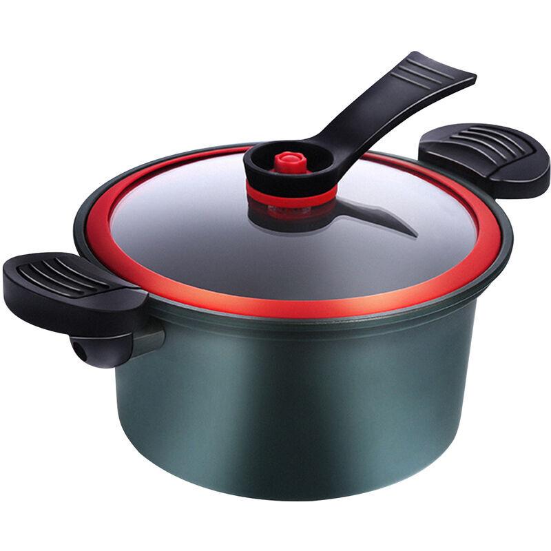 ASUPERMALL Pot A Soupe 3.5L Marmite De 8 Pouces Avec Support Couvercle En Verre Marmite A Revetement Antiadhesif 6 Couches Compatible Batterie De Cuisine A