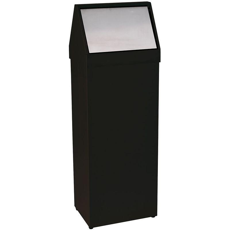 CERTEO Poubelle à trappe basculant inox   acier peint époxy   Noir-Inox   50 litres   325x240x940   Storico   1 pièce   medial - Noir