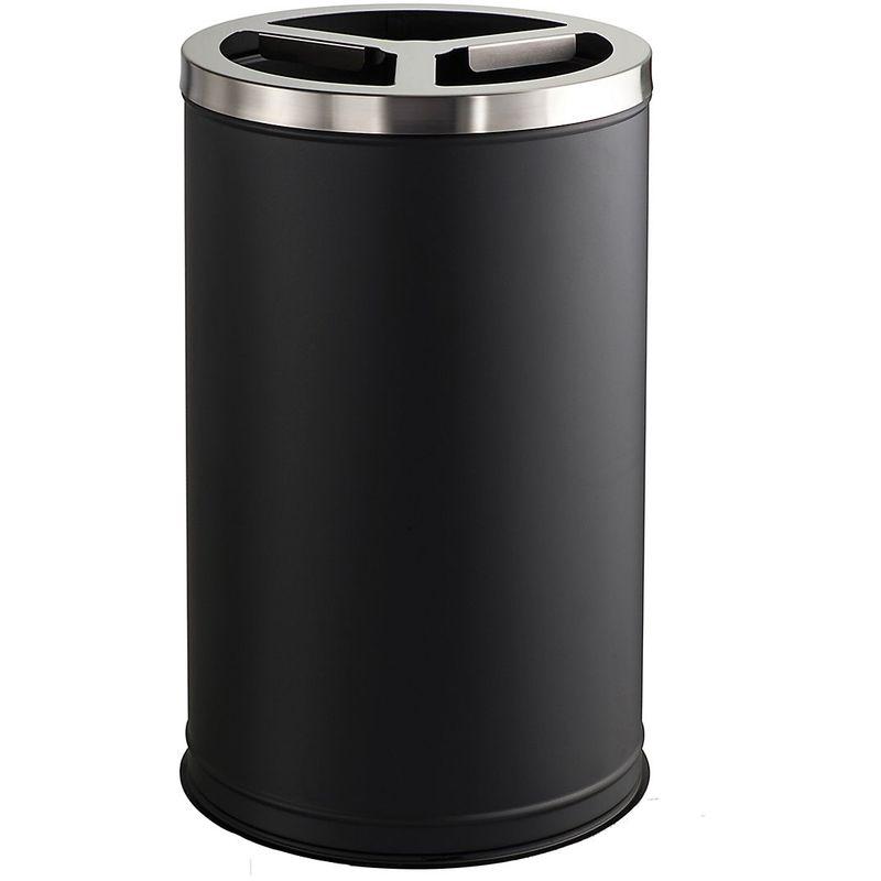 CERTEO Poubelle tri sélectif avec couvercle inox brossé   acier peint époxy   Noir-Inox   3 x 35 litres   440x750   Station - Noir