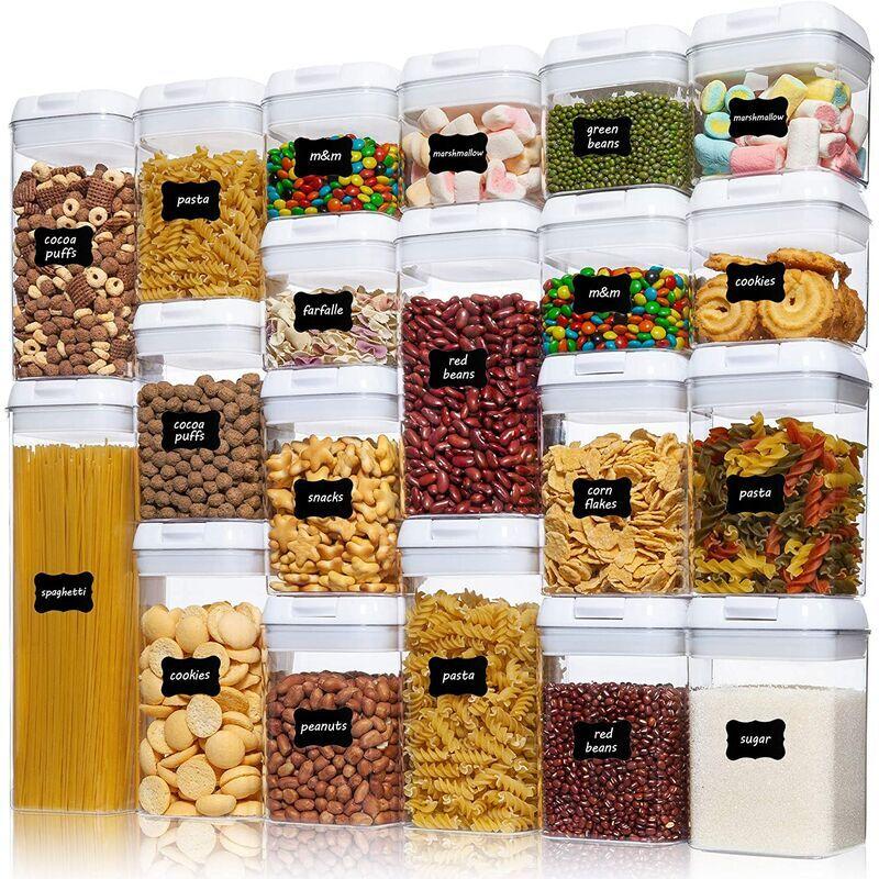 Briday - Récipients hermétiques pour le stockage des aliments, 20 pièces de récipients à céréales en plastique sans BPA avec couvercles à