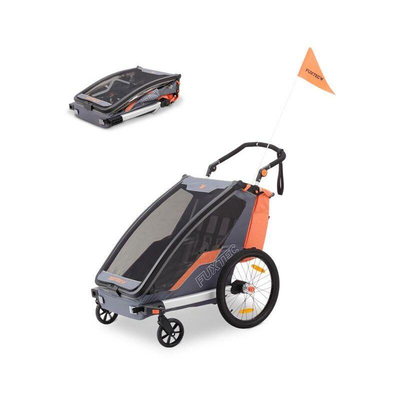 FUXTEC Remorque à Vélo Sport Cruiser Fuxtec Convertible 2 en 1 Aluminium Pour 1 Ou 2 Enfants Poussette Pliable