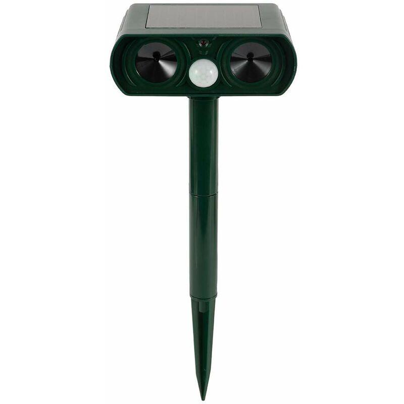 BEARSU Répulsif Chat Ultrasons Solaire Étanche, Répulsif Chat Extérieur avec Lumière LED, Repulsif Chien Exterieur Ultrason, Repulsif pour Chat Exterieur