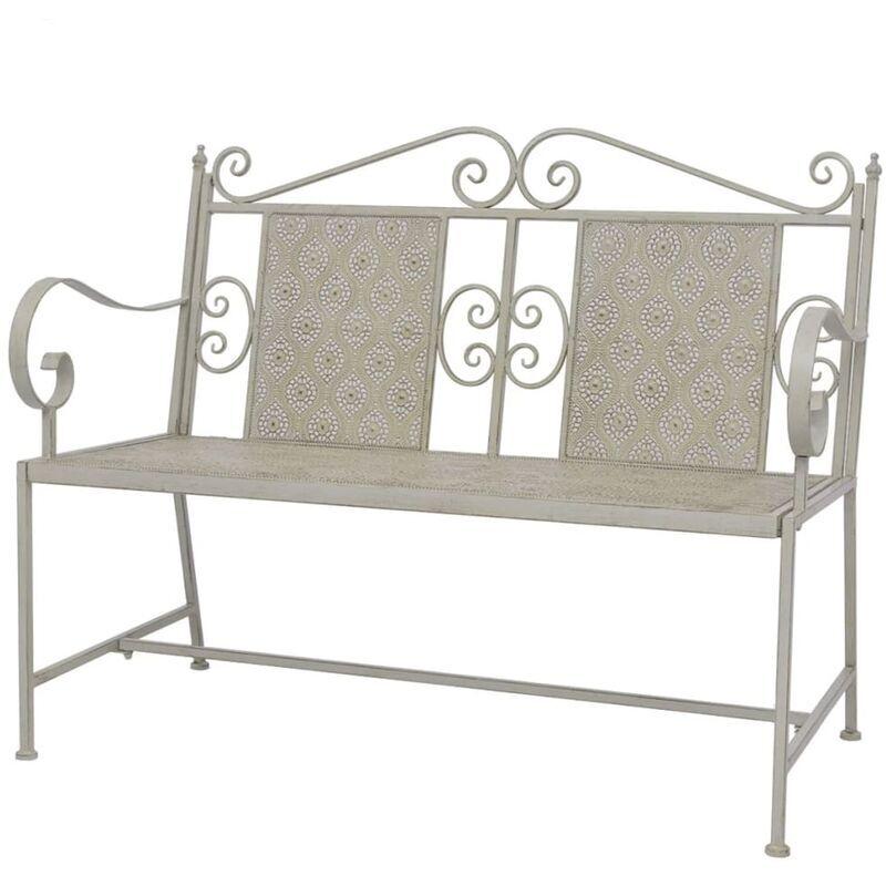 ROGAL banc de jardin 115 cm acier gris - Rogal