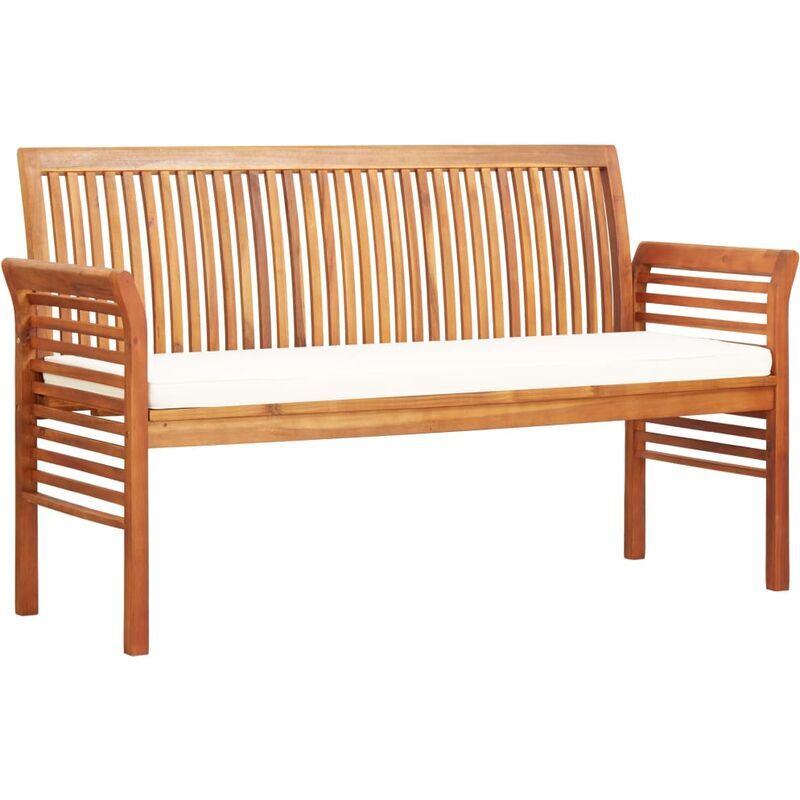 ROGAL banc de jardin 3 places avec coussin 150cm bois d'acacia massif - Rogal