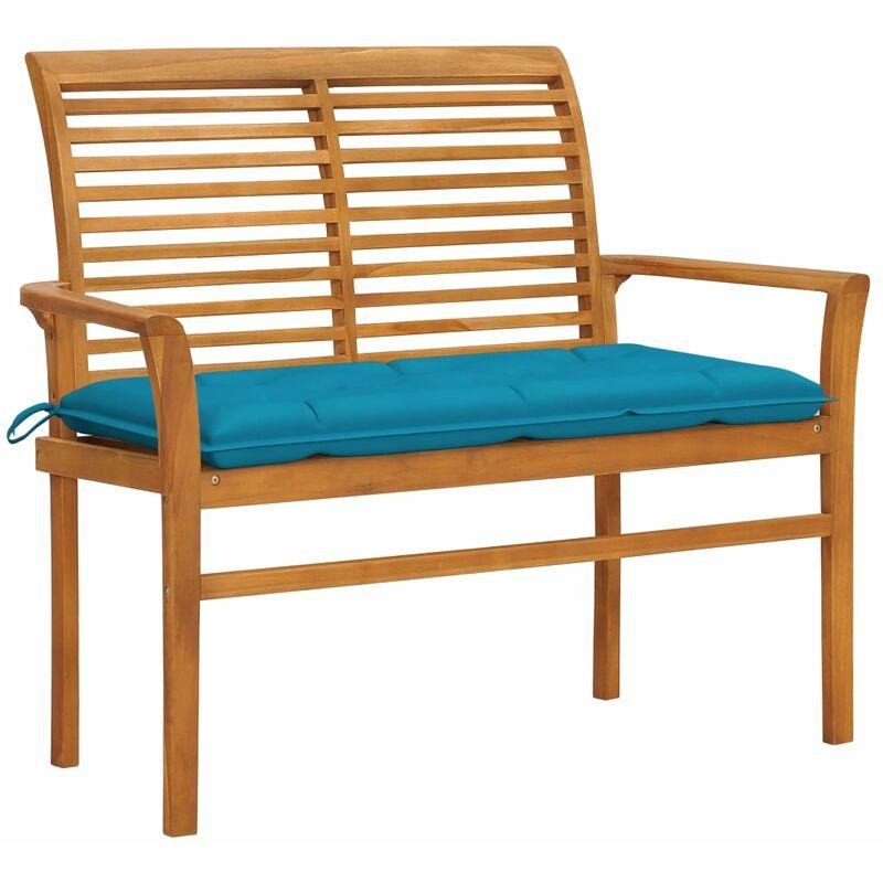 ROGAL banc de jardin avec coussin bleu clair 112 cm bois de teck - Rogal