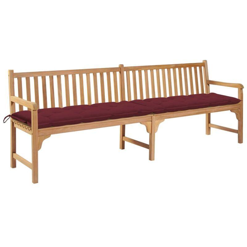 ROGAL banc de jardin avec coussin bordeaux 240 cm bois de teck massif - Rogal