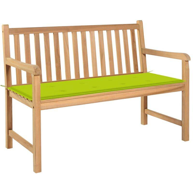 ROGAL banc de jardin avec coussin vert vif 120 cm bois de teck massif - Rogal