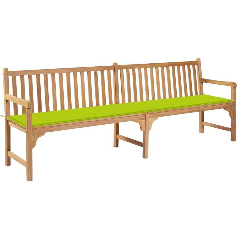ROGAL banc de jardin avec coussin vert vif 240 cm bois de teck massif - Rogal