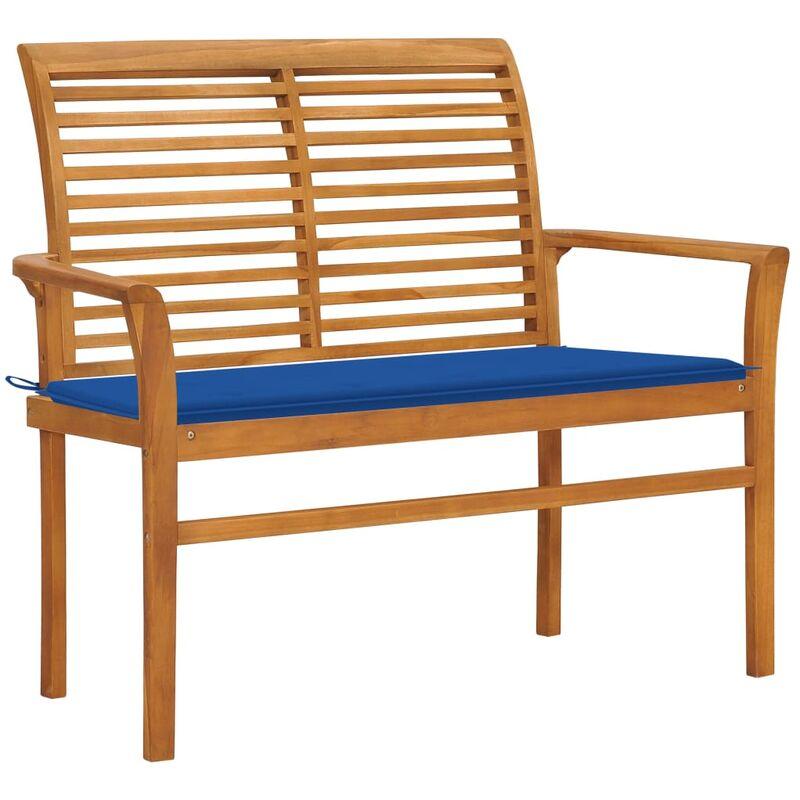ROGAL banc de jardin et coussin bleu royal 112 cm bois de teck massif - Rogal